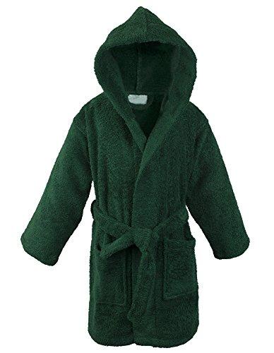 Heavyweight Terry Robe (100% Turkish Cotton Kids Hooded Terry Robe - Girls - Green -)