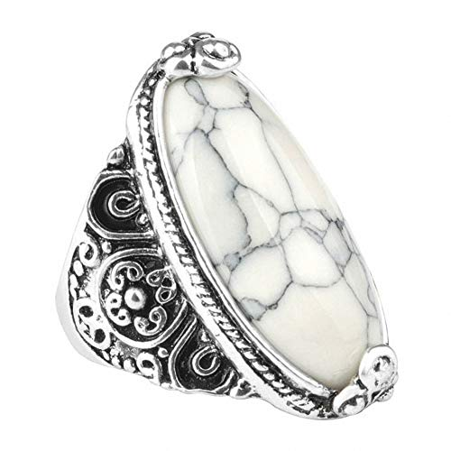 Flower Band Oval Natural Stone Ring for Women Vintage Look Antique Silver Fashion Retro Jewelry (Oval Antique Ring)