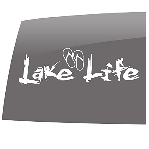 Window Swag Lake Life - Sandals - Solid White - Decal - Lake Life - Outdoor - Vinyl Sticker ()