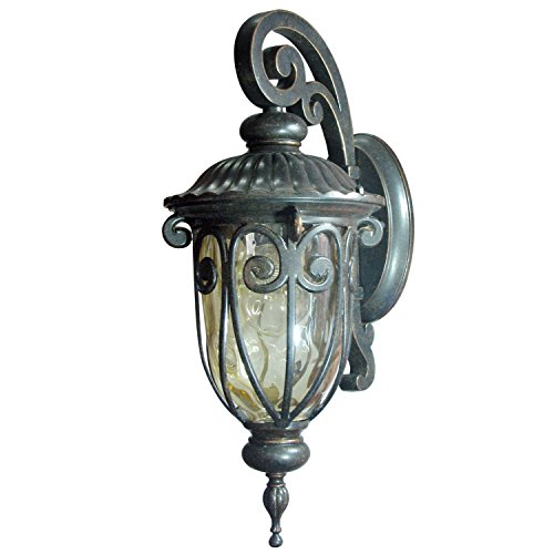 Y Decor EL591SOR Modern, Transitional, Traditional Hailee Exterior Outdoor Light Fixture Oil Rubbed Bronze Finish with Gold Stone Glass Small, Oil Rubbed Bronze, Brown