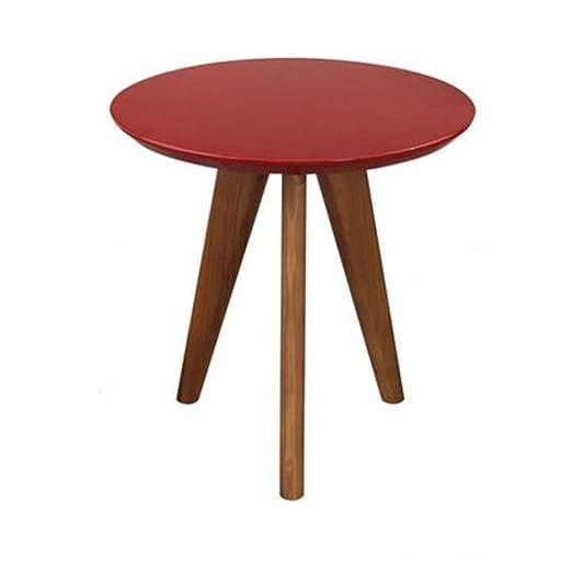 ACZZ Mesa auxiliar de sofá, mesa redonda de madera maciza ...
