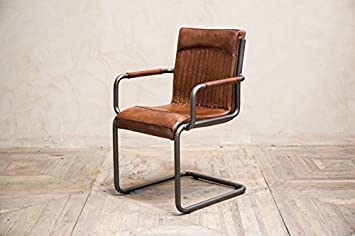 VINTAGE INSPIRED TAN LEATHER DINING CHAIR INDUSTRIAL LOOK DESK CHAIR  ARMCHAIR