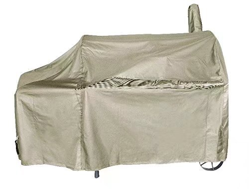 iCOVER 60 Inch 600D Heavy-Duty Premium classic outdoor Canvas BBQ Barbecue Off-Set Khaki Smoker Cover G22608 for weber char-broil Brinkmann Nexgrill by iCOVER