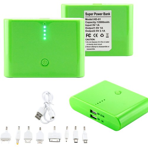 Gearonic 12000mAh general electricity Bank Backup External Battery Pack lightweight USB Charger, Green