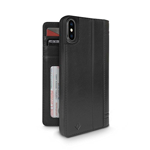 Twelve South Journal for iPhone XS / iPhone X | Leather Wallet Shell and Display Stand (Black)