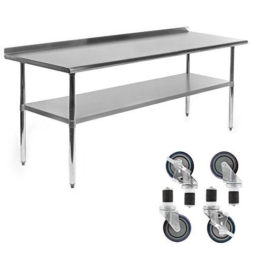 GRIDMANN NSF Stainless Steel Commercial Kitchen Prep & Work Table w/Backsplash Plus 4 Casters (Wheels) - 30 in. x 72 in.