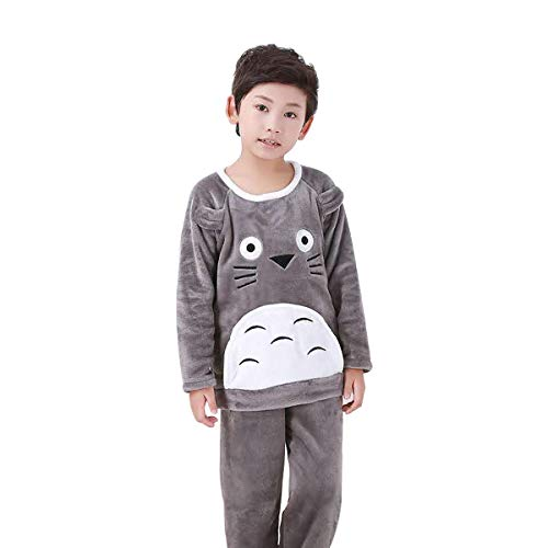 Urban Zakapa Girl's Pajamas Set Flannel Long Sleeve Top & Elastic Waist Pant-Grey-8 ()