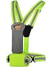 Athlé Chaleco reflectante con soporte para teléfono – Chaleco de alta visibilidad para correr de forma segura, trotar, pasear al perro, montar en bicicleta y más