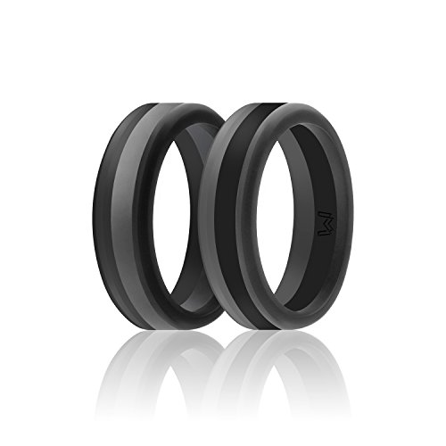 WIGERLON Mens Silicone Wedding Ring& Wedding Bands Skin Safe for Active Athletes, Workout, Military Width 8mm Pack of 2]()