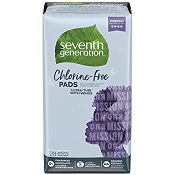 Seventh Generation Ultra Thin Pads, Overnight with Wings, Chlorine Free, 28 Count (Packaging May Vary)