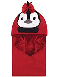 Animal Face Hooded Towel, Red Penguin, One Size