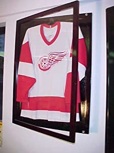 Small Cherry Jersey Display Case Football Basketball Hockey Baseball Jersey Display Case Shadow Box Frame, 98% Uv Protection Door, with Hanger,