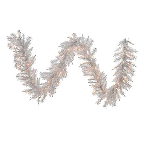 Kurt Adler Pre-Lit  Garland, 9-Feet, Crystal White
