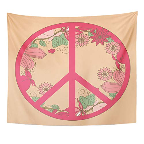 (Semtomn Tapestry Brown Pink Peace Symbol Nature Growing in Its BorderDecor Wall Hanging for Living Room Bedroom Dorm 50x60 inches)