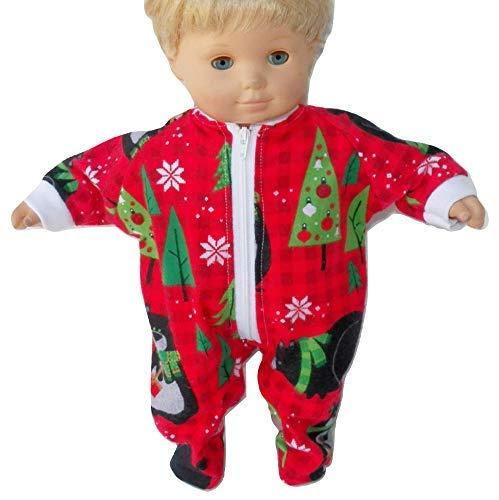 Bitty Baby Doll Clothes Sleeper Red Bear Flannel Pajamas No Doll