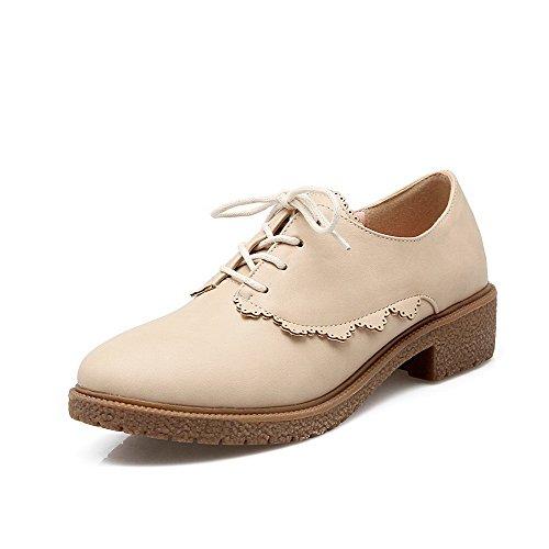 AgooLar Damen Niedriger Absatz Weiches Material Rein Schnüren Rund Zehe Pumps Schuhe Cremefarben