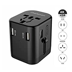 Charlemain Universal Worldwide All in One Travel Adaptor, 4-Port International Phone USB Wall Charger with Foldable Plugs for iPhones, iPad, Samsung Galaxy S8/S7, LG, Note Series, Tablets and Android SmartphonesYour best travel companion You ...