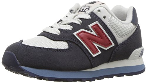 New Balance Boys' 574v1 Essential Sneakers, Navy/red, 2 M US Little Kid