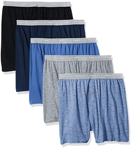Hanes Men's 5-Pack Exposed Waistband Knit Boxers
