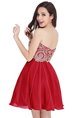 Babyonlinedress Vestido corto de fiesta para bodas vestido de chiffón estilo elegante trapecio y A line cuello de corazón sin mangas espalda de cierre Rojo