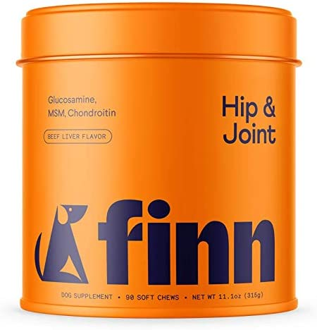 Finn Hip and Joint Supplement for Dogs   Glucosamine, Chondroitin & MSM for Arthritis, Inflammation, and Mobility Support   with Turmeric, BioPerine and B-Vitamins   90 Soft Chew Treats