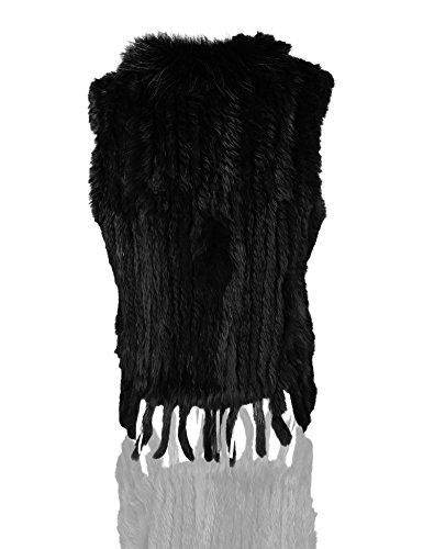col fourrure avec fourrure Veste lapin Noir Knit Femmes de 100 de Uilor naturel rat q1yw8pa6B
