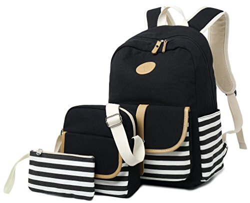 School Backpack for Girls, Gazigo Womens High School College Bookbags Laptop Bag (Black) -