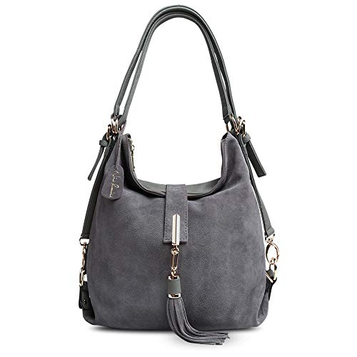 Nico Louise Women Genuine Suede Leather Tassel Handbag Backpack Shoulder Bag (Deep Grey) ()