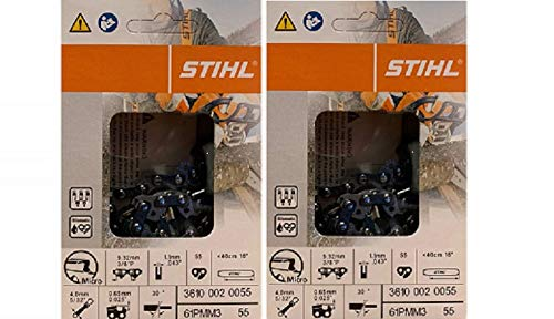 16in Chain - Stihl 2 Pack 61PMM3 55 Drive Links 16