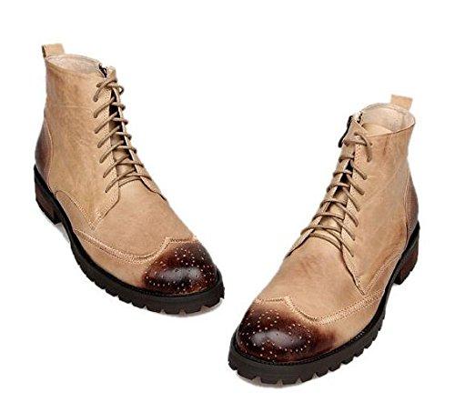 Happyshop (tm) Zapatos De Cuero Real Para Hombre Martin Botas Botas De Ejército Botín Moda Cool Hombre Zapatos De Albaricoque