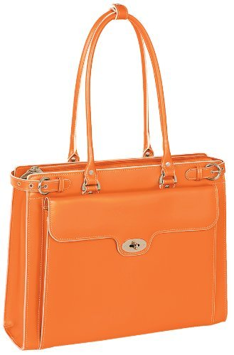 MCKLEIN WINNETKA 94830 Orange Leather Ladies' Briefcase w/ Removable Sleeve Bag