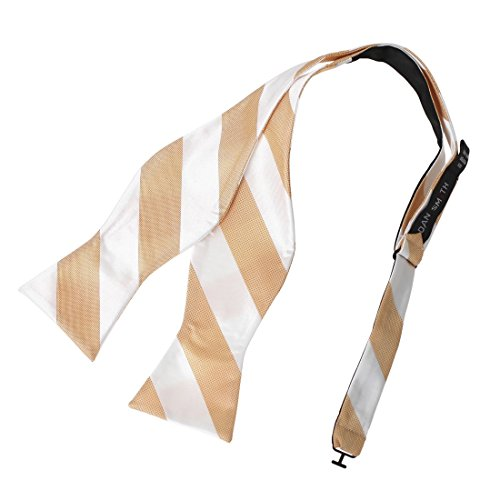 DBA7A03E Orange White Stripes Bow Tie Microfiber Inspirational Designer Self-tied Bow Tie By Dan (White Stripe Self Tie)