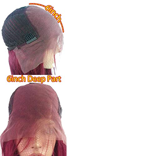 Red Straight Lace Front Human Hair Wig 150Density With Baby Hair Preplucked Brazilian Virgin 13X6 Lace Front For Black -