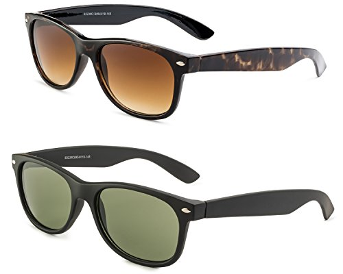 Havana Frame/ Brown Gradient Lens and Matte Black Frame/Green - Matte Lenses Sunglasses With