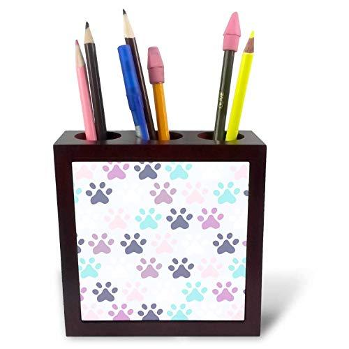 (3dRose Janna Salak Designs Cats - Purple Cat Paw-Prints - 5 inch Tile Pen Holder (ph_310714_1))