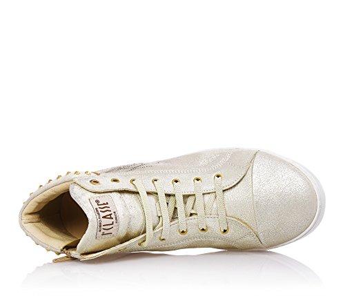 1^CLASSE - Beige Sneakers mit Schnürsenkel, aus Leder, seitlich ein Logo, Mädchen