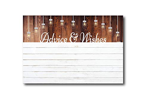 Advice and Wishes Cards | Rustic White Shiplap | Perfect for the Bride and Groom, Baby Shower, Bridal Shower, Graduate or Any Occasion 50 Ct. 4x6 -
