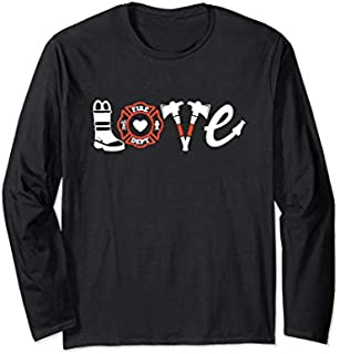 Cool Gift Firefighter - Love Firefighter Tee, Firefighter Gift Funny Women Tee Shirt / Navy / S - 5XL