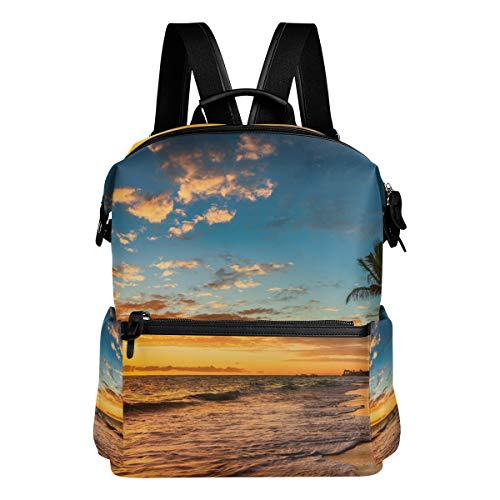 Island Paradise Leather - TARTINY Landscape Paradise Tropical Island Beach Sunrise Laptop Backpack Leather Strap School Bag Outdoor Travel Casual Daypack