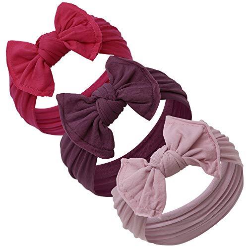 Baby Girl Headbands and bows - Nylon Headband Fits newborn toddler infant girls (Fuchsia - Plum - Lilac)