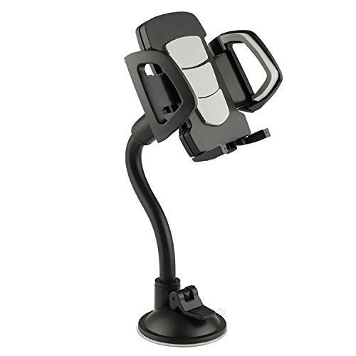 Cell Phone Holder for Car, Windshield, Dashboard, Long Arm Car Mount, Strong Suction Cup, Anti-skid Base, Sizeable for iPhone, Google, Galaxy, Nexus, LG and all type of Cell and smart - Dash Mount Skid