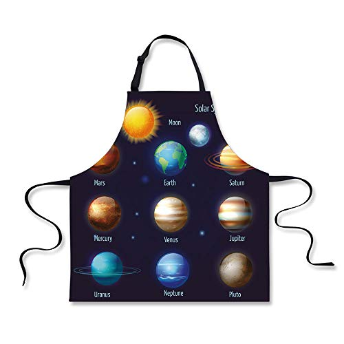 iPrint Cooking Apron,Educational,Solar System Planets and The Sun Pictograms Set Astronomical Colorful Design,Multicolor,3D Print Apron.29.5''x26.3'' by iPrint