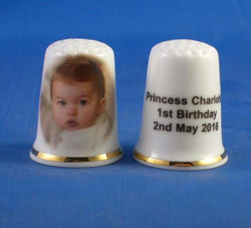 Birchcroft Porcelain China Collectable Thimble -- Princess Charlotte 1st Birthday Birchcroft China