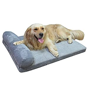 AcornPets® B-1311 Deluxe Large Grey 7 CM Extra Thickness Memory Foam Dog Sofa Bed Fleece 90 x 70CM For Large Dogs, Using High Elasticities Slow Rebound Solid Foam,Detachable and Washable 10