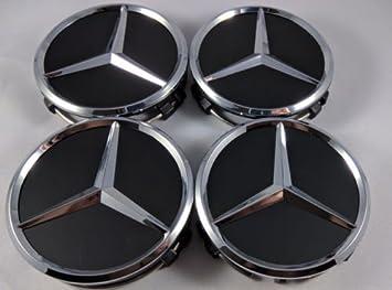 Yifei2016 4 tapacubos de Mercedes Benz negro de 75 mm con emblema de la estrella: Amazon.es: Coche y moto