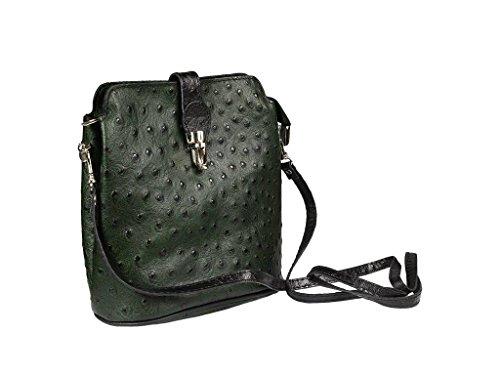 9dd7e8d007fce Schöne praktische Leder Kleine grüne Handtasche aus Leder Fibbia Verde Nera  über die Schulter