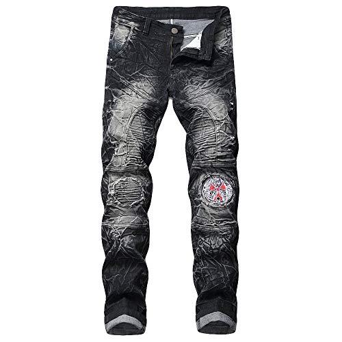 (ANJUNIE Men's New Printed Individual Jeans Making Old Printed Trousers Slim Fit Long)