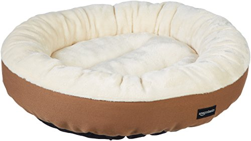 AmazonBasics Round Bolster Pet Dog Bed - 20 x 6 Inches, Brown