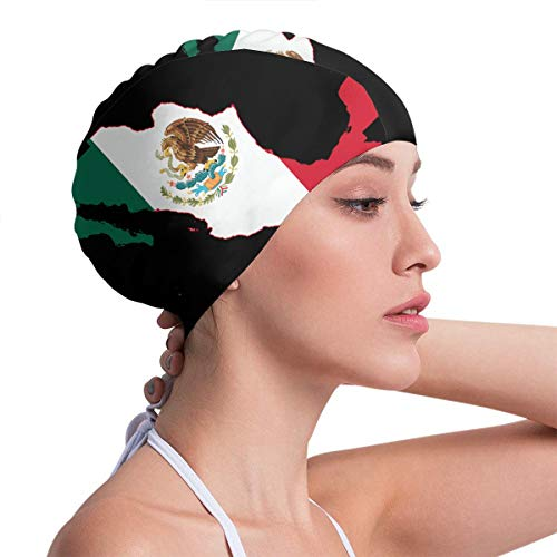TYMOFII80 Swim Cap Mexico Flag Countries Waterproof Ear Protection Swimming Hats for Men Women