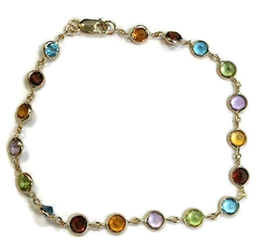 (Sophia Fine Jewelry Multicolor 4 mm Gemstones 7 inches Bracelet 14 k Yellow Gold)